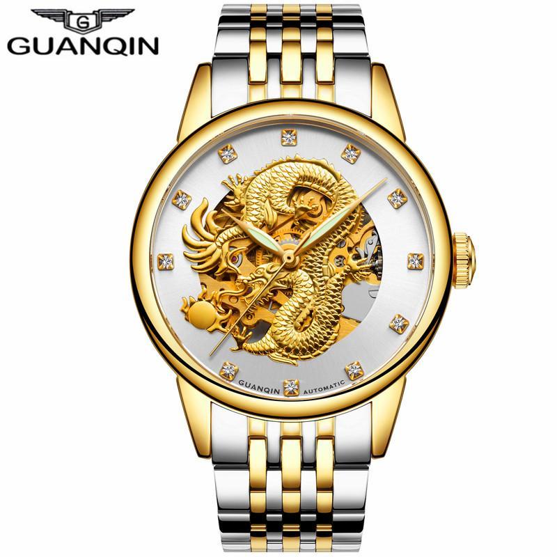 relogio masculino의 GUANQIN 럭셔리 브랜드 해골 골드 드래곤 스테인레스 스틸 손목 시계 남성 비즈니스 자동 기계 시계
