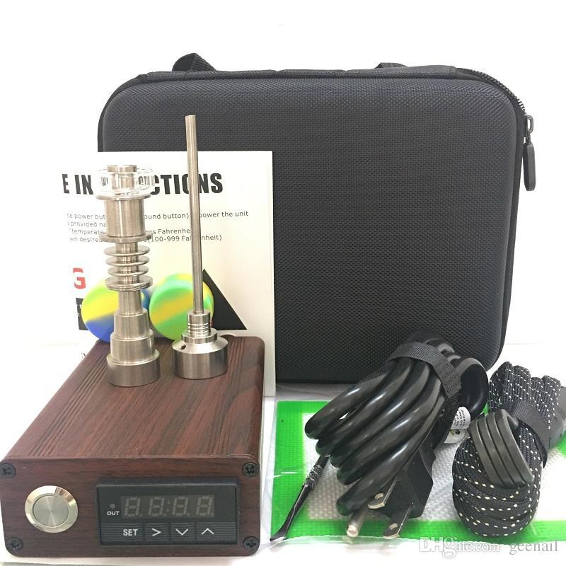 Tragbare Enail Elektrik-Nagel-Nagel E-Nagel Dnail-Kits TC PID-Digital-Dabber-Box mit Ti-Titan-Quarznagel für Glasbong Camo Wood