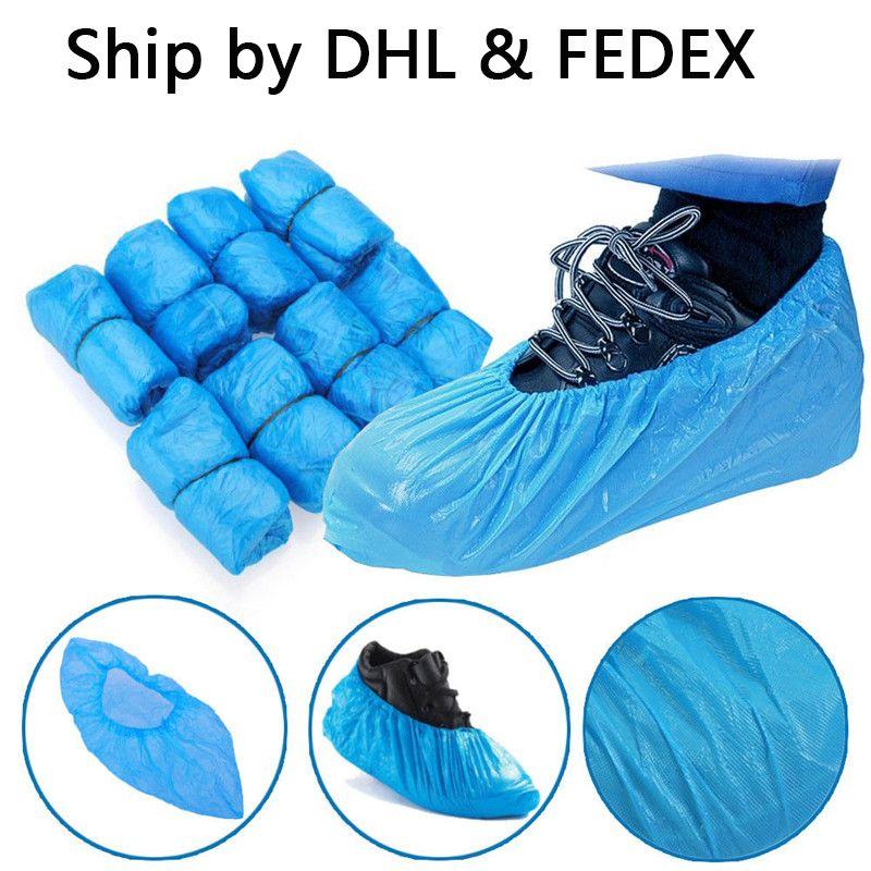 Пластиковые водонепроницаемые одноразовые Бахилы дождь день ковровое покрытие Protector Синий Чистка крышки Галоши Для дома
