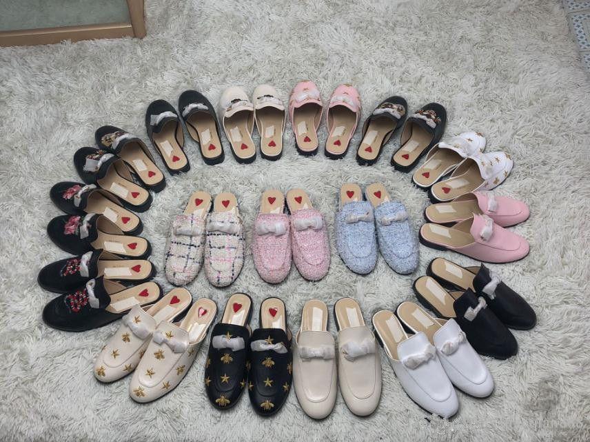 2019 Muller Scarpe Mocassini Genuine Leather pantofole di lusso della moda del progettista delle donne Mules Princetown ricamo Scarpe casual morbida e confortevole
