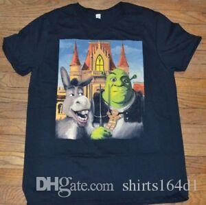 T shirt Shrek Donkey breve del manicotto del Mens Graphic Bicchierino-gotica Pitchfork Pittura Tee