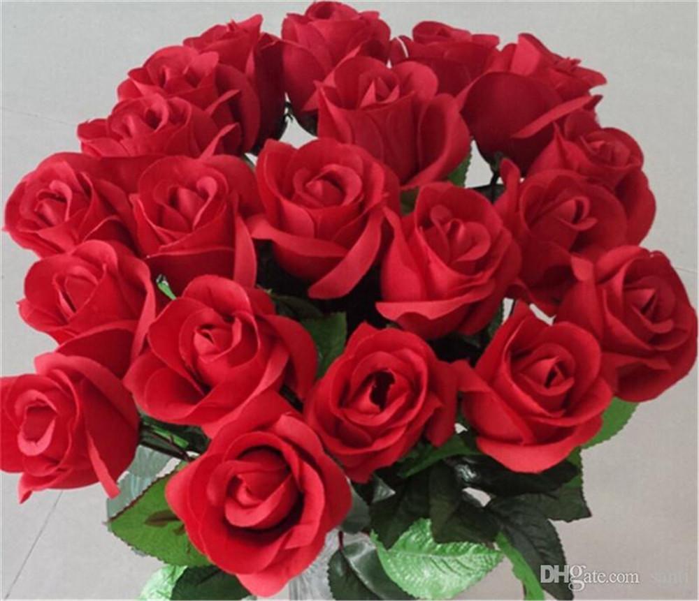 New Festive Frische Rose Künstliche Blumen Real Touch Rosen-Blumen-Hauptdekorationen für Hochzeit Geburtstag