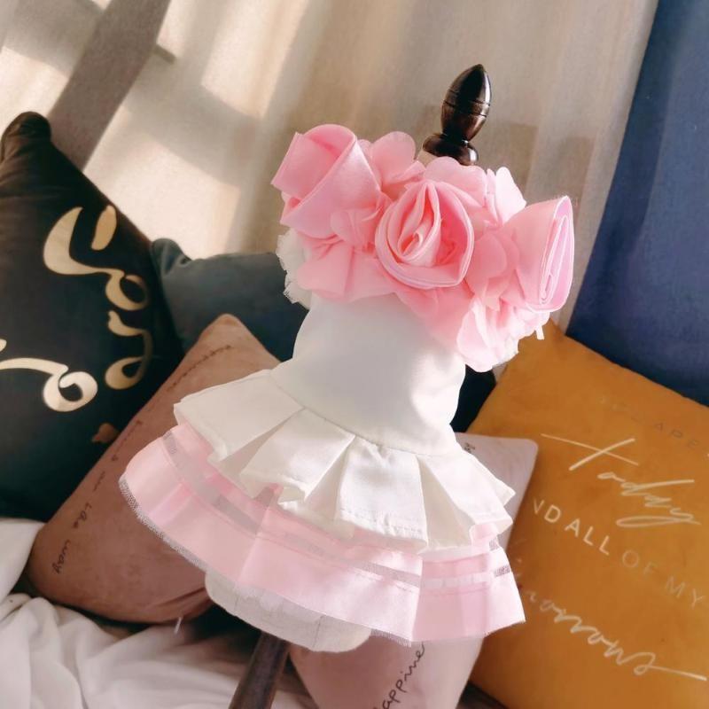 La ropa de tela de los vestidos de boda del perro casero de la princesa vestido de encaje de la falda perrito del Festival de vestir prendas de vestir gato de peluche de perro Chihuahua