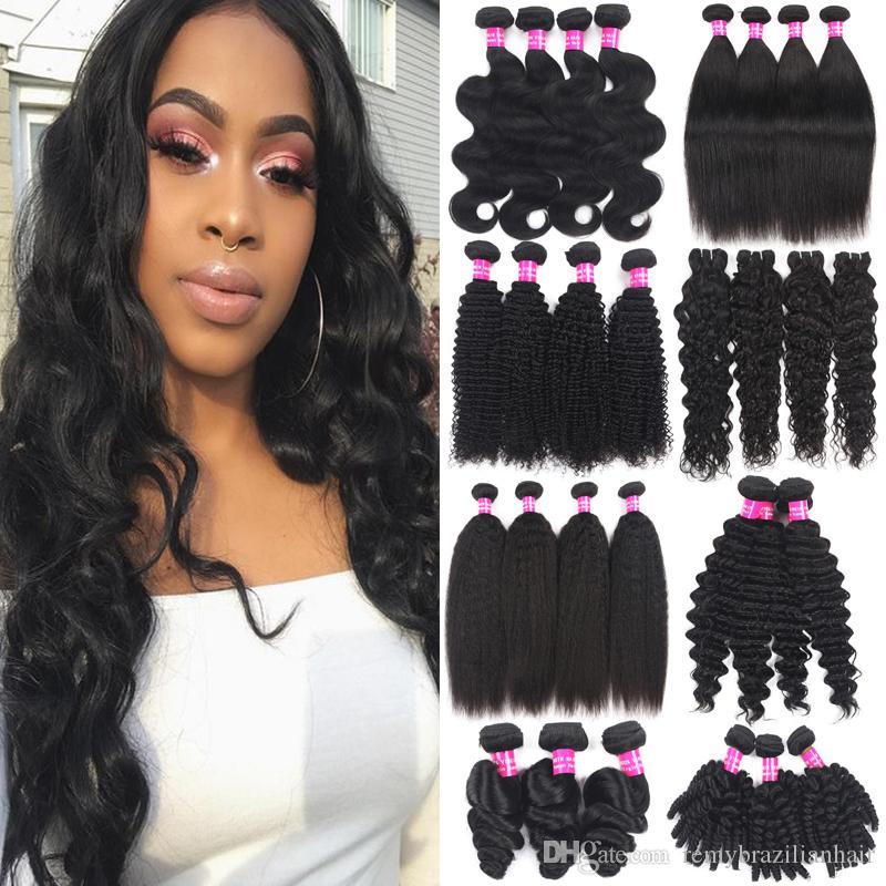 9A Extensiones de cabello humano brasileño 100% Paquete de cabello virgen no procesado Troquías peruanas indias indias indias de profundidad onda suelta tejidos de pelo