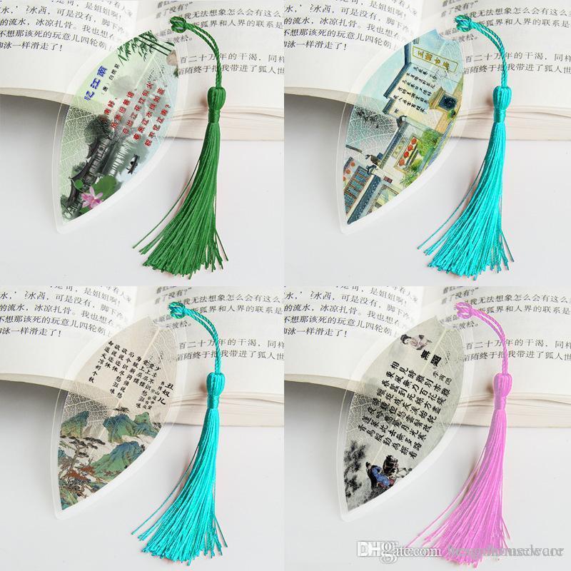 Laisse Vein Bookmarks Creative Personnalisé Elegance Tassel Bookmarks Vent Chinois Collectibles Cute Papeterie classique Signets Bh1449 TQQ