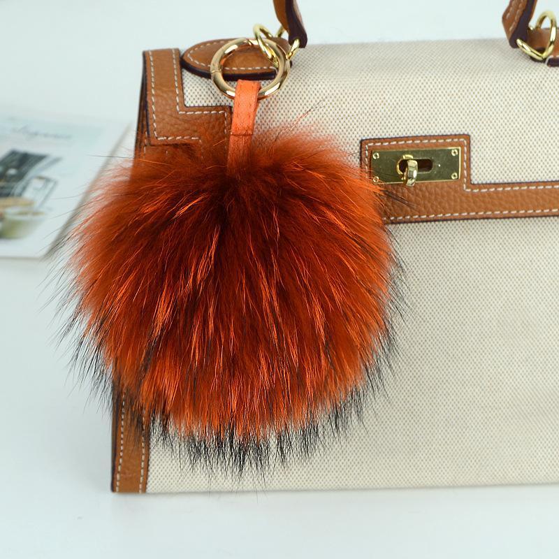 Grande 15 centimetri a catena in pelle soffice pelliccia di Fox sfera pompon in pelliccia naturale Pompon cinghia chiave di Keychain dell'anello del pendente per le donne fascino F278