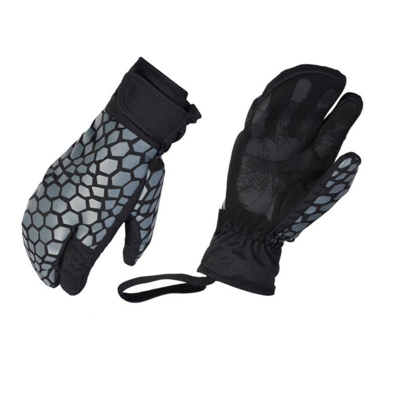 1 paire de gants de ski Gants d'hiver imperméables moufles 3 doigts chauds Toucher l'écran