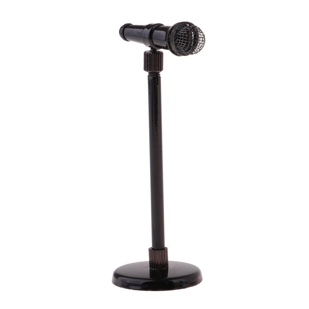01:12 Dollhouse Instruments de musique Modèle - Microphone réglable avec support cas cadeaux, Maison de poupée Fairy Garden / Musique Décor Chambre