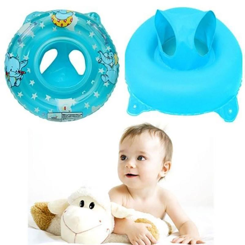 Inflatable Infant Seat Baby Swim Circle Swimming Rings Float Swimming Pool Water Toys Pattern Double Handle Safety Baby Seat