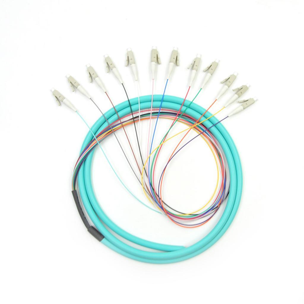 1.5M LC/PC 12cores fanout fiber optic Pigtail MM LSZH simplex Optical fiber pigtail /cord cable 12core color bunchy pigtail
