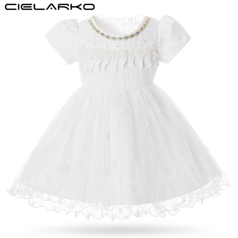 Cielarko Baby Dress Party White Toddler Girls Christening Dresses Star Tulle Infant Birthday Dress Princess Frock For 3-24 M Y190516
