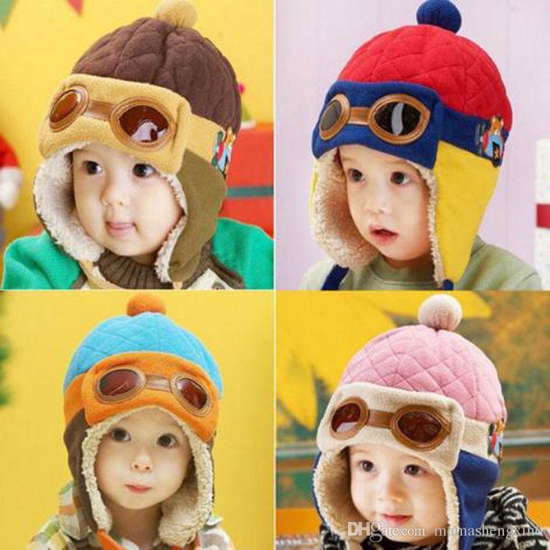 New Baby Pilot Hat Toddlers Kids Aviator Winter Warm Cap Baby Boy Girl Infant Ear Flap Earmuffs Soft Hat Beanies