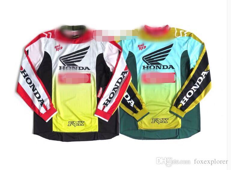 Fox cabeza hacia abajo TLD camiseta larga HONDA ropa de moto DH bicicleta de montaña camisa de manga larga cabeza downhillFox masculina de descenso