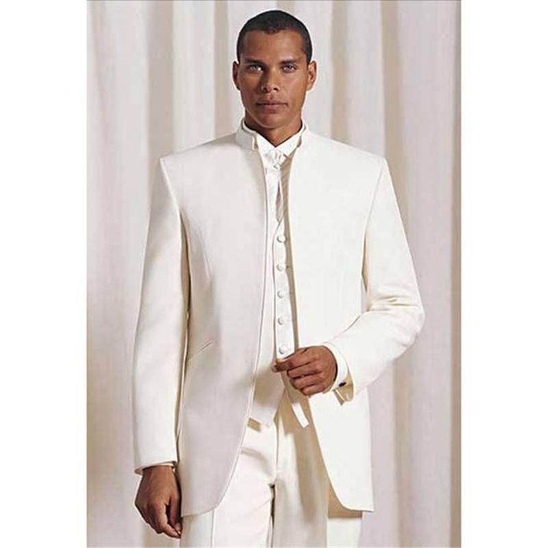 New Custom arrivo uomini fatti soddisfare terno slim fit mens nozze smoking usura sposo Ivory degli uomini è adatto (Jacket + Pants + vest + tie)