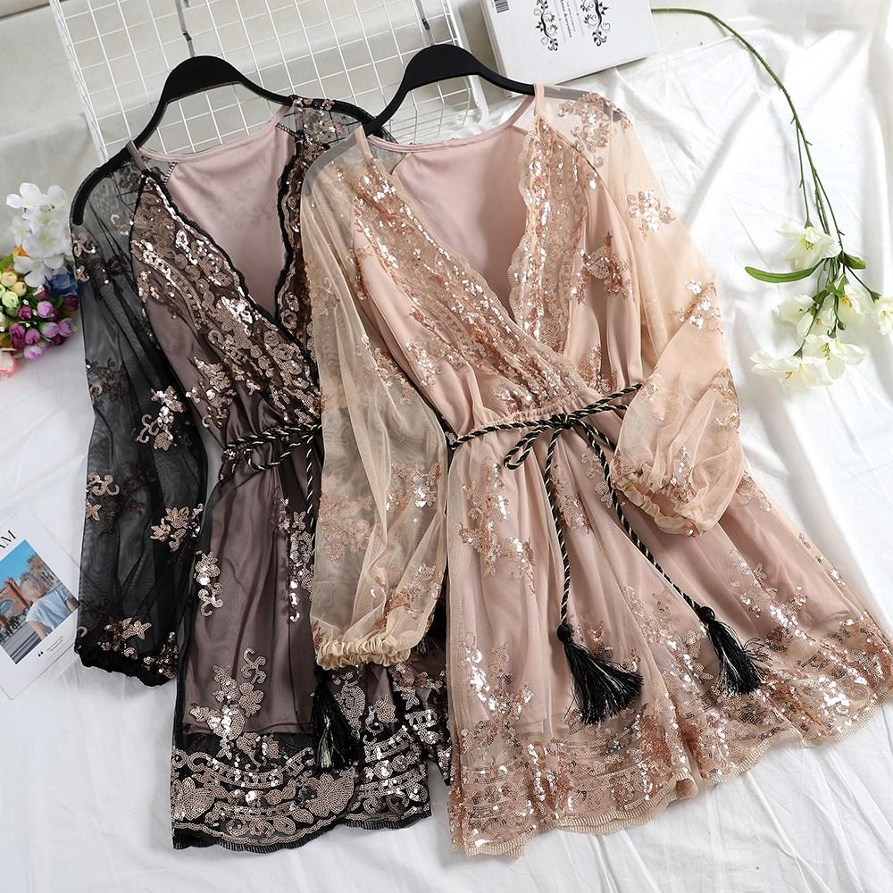 2019 Spring Women Floral Embroidery Sequined Rompers V-Neck Mesh Belt Sexy Rompers Loose Long Sleeve Short Jumpsuits