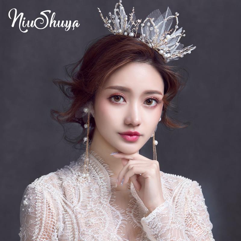 NiuShuya nupcial romântico Crown de touca de cabelo Sweert coreana Handmade vestido de noiva aniversário Hairwear nupcial Hairwear Jóias