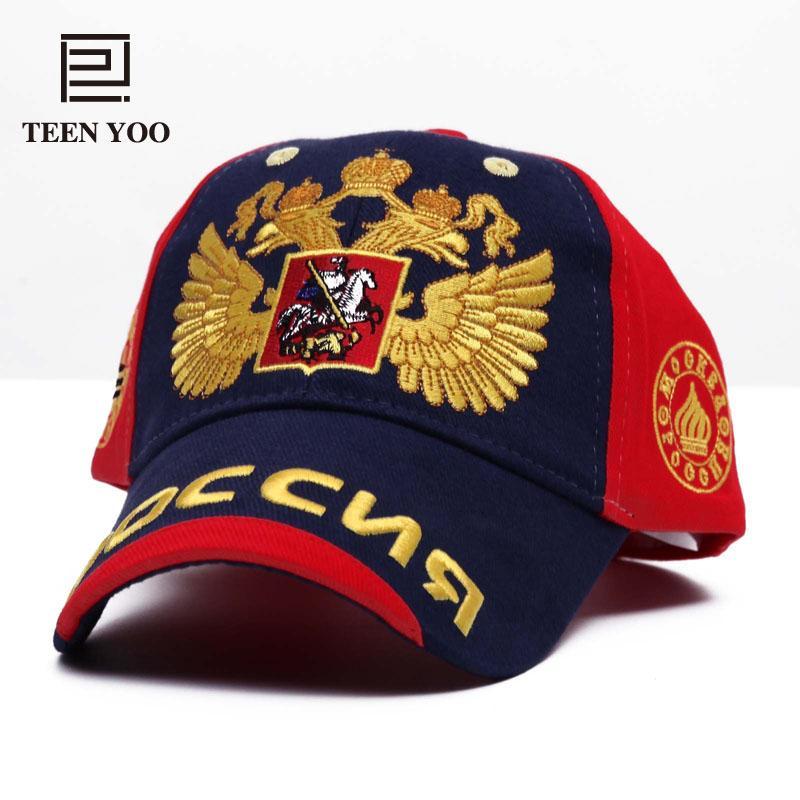 Mode broderie Casquette de baseball Russie Emblème national d'or Double-tête d'aigle en plein air Coton Sport de loisirs Chapeau de soleil Snapback