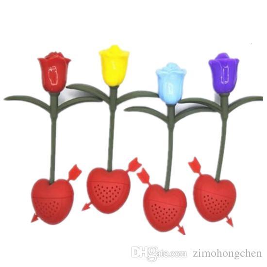 1pcs de silicona Rose Tea Infuser del tamiz del filtro de la novedad herramientas de regalos ea 2019 el envío libre