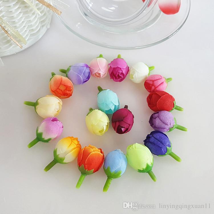 Mini Rose Tea Buds Flores artificiales Boda Decoración del hogar DIY Craft Wreath Regalo Día de San Valentín Decoración flores falsas