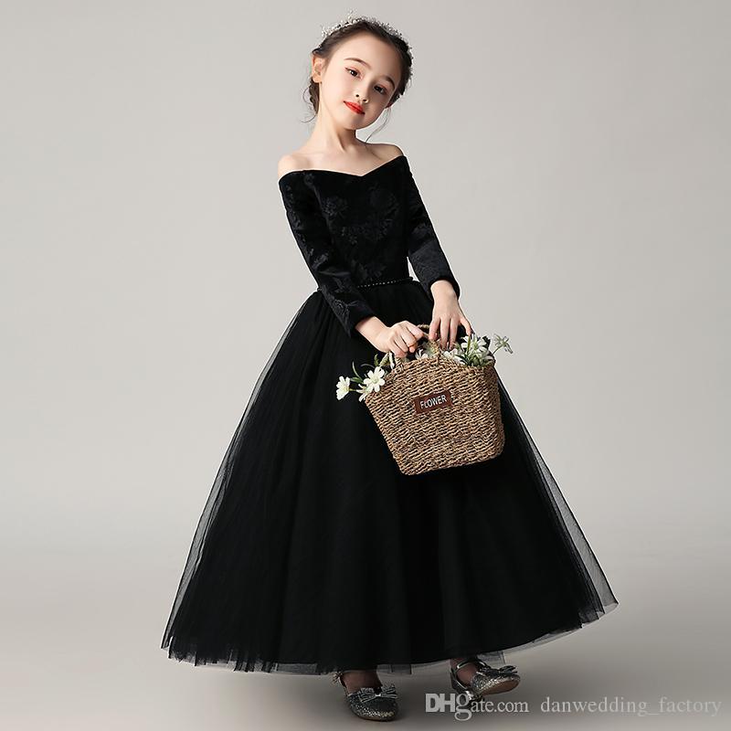 Flower Girl Dresses Pageant bellezza nero di Tulle maniche di velluto della ragazza Abiti Compleanno Abiti il formato su 2-14 FLY546