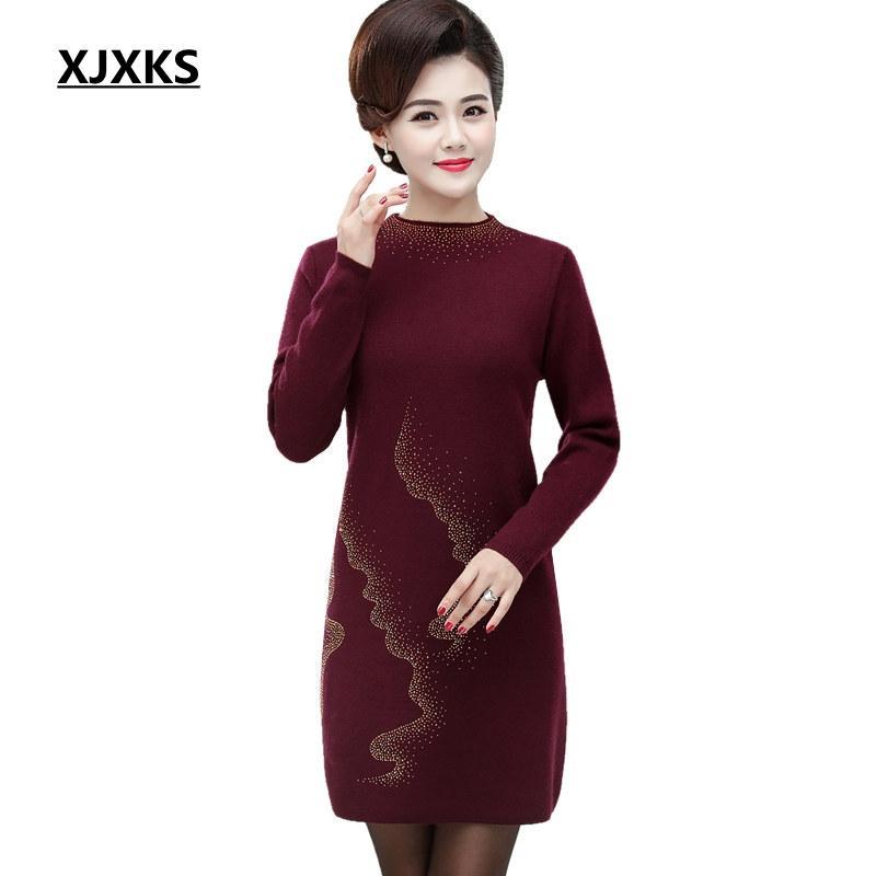 XJXKS novo outono e inverno Feminino camisola morna Manga comprida camisola Mulheres Half Turtleneck grosso pulôver Casual