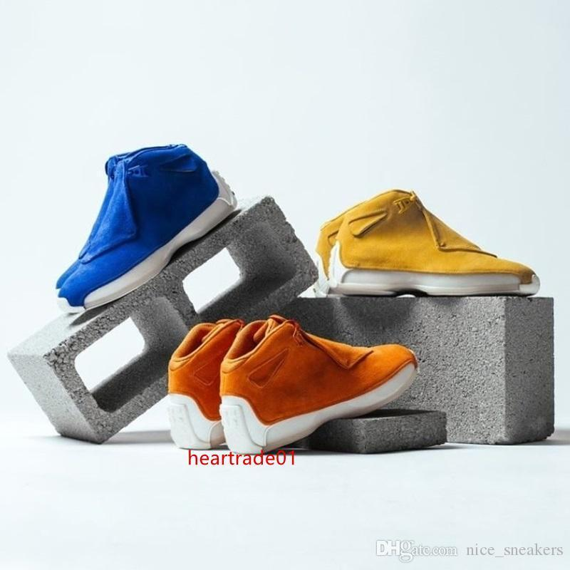 18s diseñador 18 Zapatos de los hombres del deporte del baloncesto Toro Rojo Amarillo Naranja Azul Gamuza Royal refrescan las zapatillas de atletismo gris Og Cdp entrenador de descuento 41-47