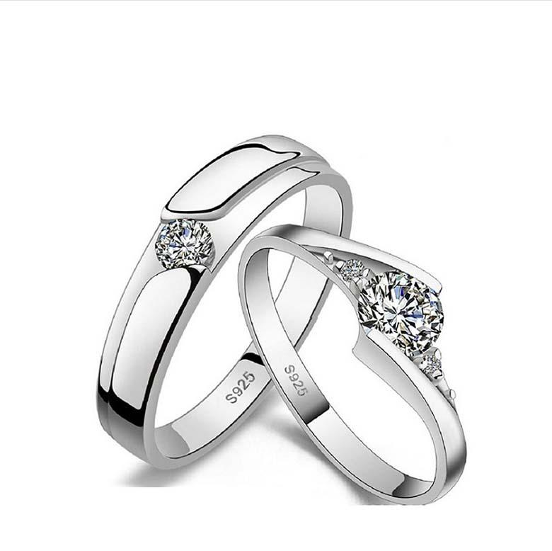 Sterling Silver Coupled Feather Cubic Zirconia Ring