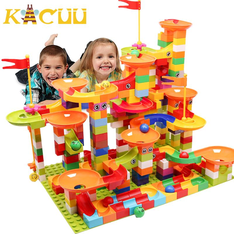 Marble Race Run Block Big Size Compatible Duploed Building Blocks Plastic Funnel Slide DIY Assembly Bricks Toys For Children CX200612