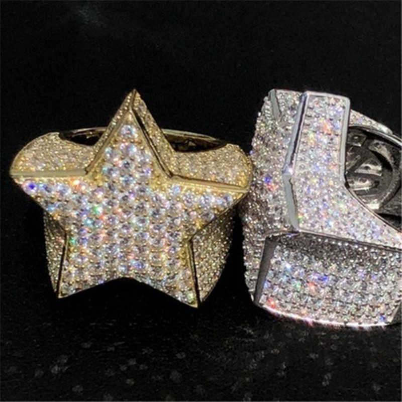 Moda Wedding Lab Dimensioni 6-12 FUORI GHIACCIATO Hip Hop 3D STAR ANELLO Pinky Uomo