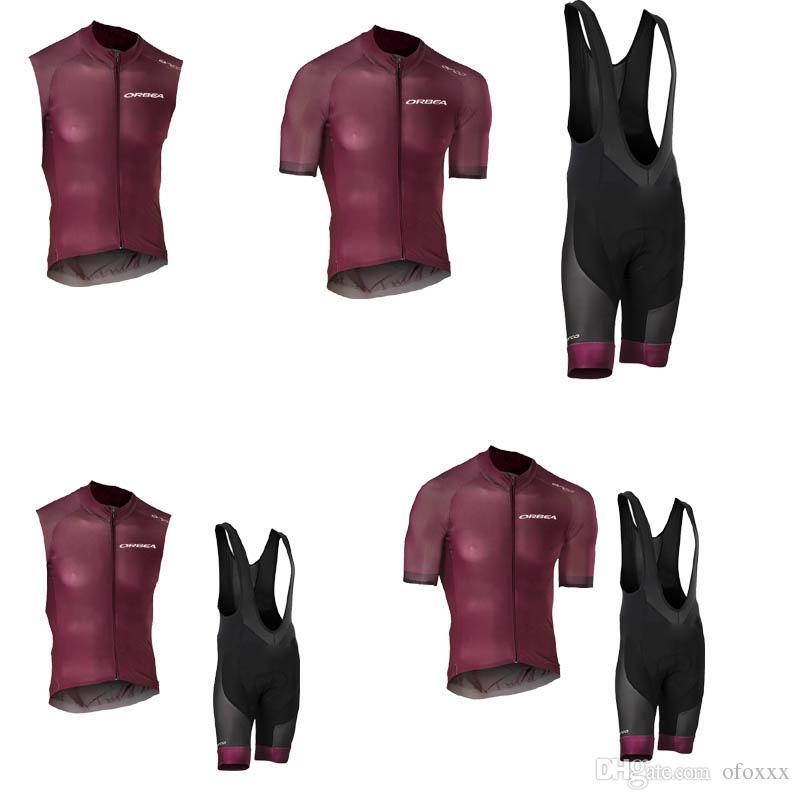 Completo da ciclismo estivo da uomo ORBEA team su misura manica corta / pantaloncini senza bretelle comode maglie sportive da mtb S8212
