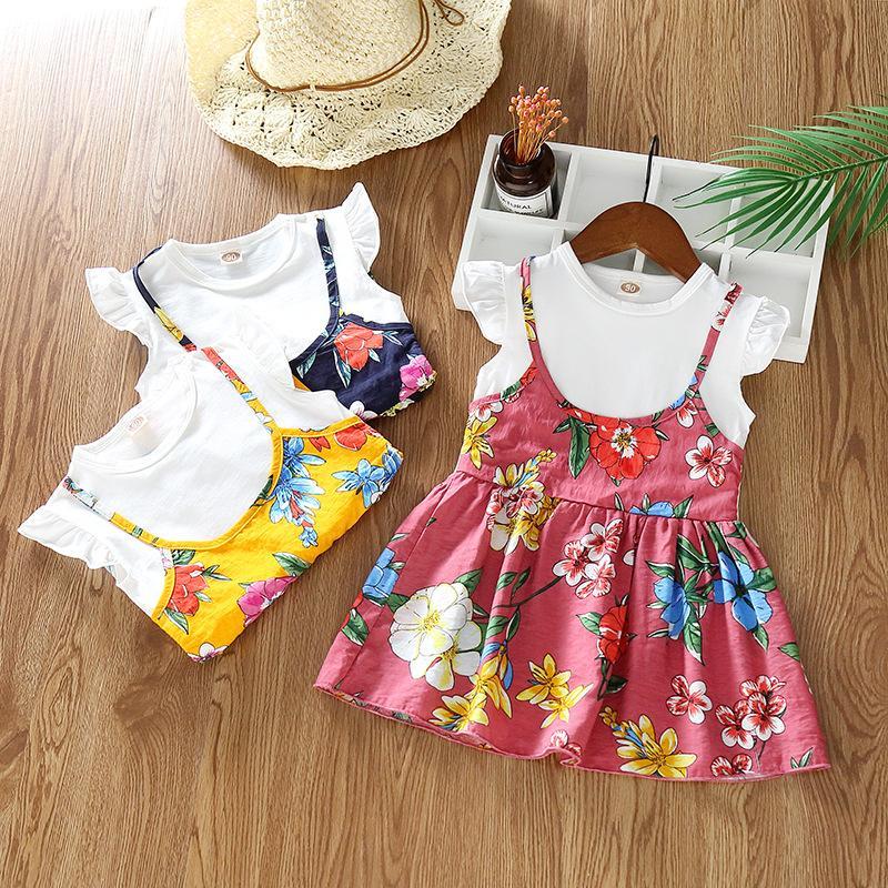 Estate gonna per bambini versione coreana della varietà di colore solido di gonna a due pezzi finto fionda stampato a fiori una generazione