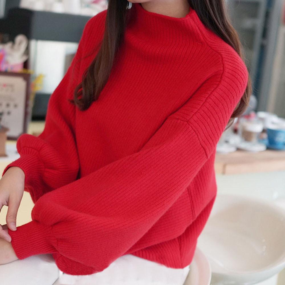 2019 새로운 겨울 여성 레드 화이트 스웨터 패션 터틀넥 랜턴 슬리브 풀오버 느슨한 니트 스웨터 여성 점퍼 탑