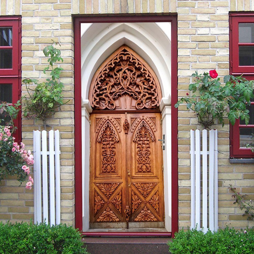 2pcs/set 3D Islamic Style DIY Door Art Mural Sticker Simulation Wooden Door Wall Stickers Self-adhesive PVC Bedroom Decor Poster
