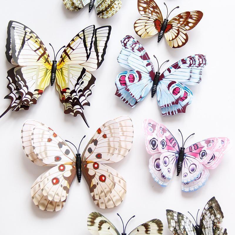 12pcs muito Camada Dupla partido Asas 3D borboleta ima Etiqueta Borboletas Quarto dos miúdos DIY adesivo parede Home Decor
