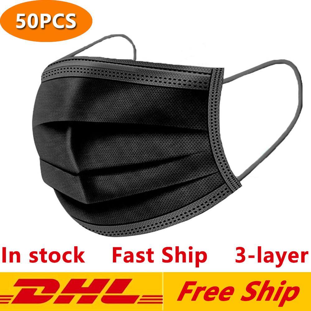DHL frete grátis preto descartável face máscaras de proteção de 3 camadas com máscaras exteriores da boca da boca do lagoop