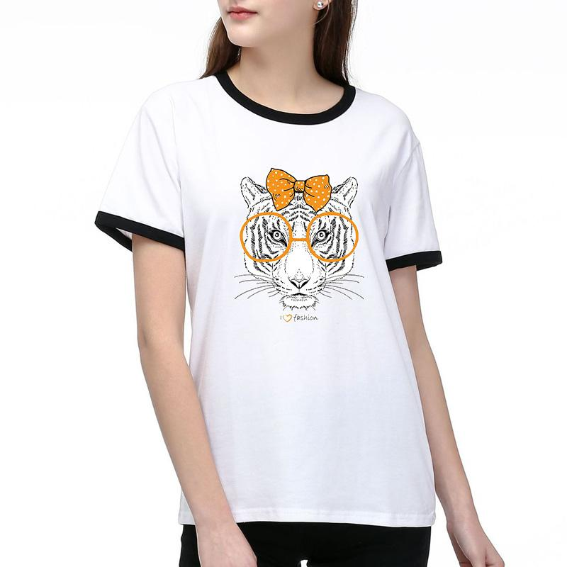 Las camisetas de las mujeres 2020 nueva llegada de las mujeres cabeza de tigre impresión de la moda de manga corta camiseta informal mujeres del tamaño respirable Tee 2 Color S-2XL