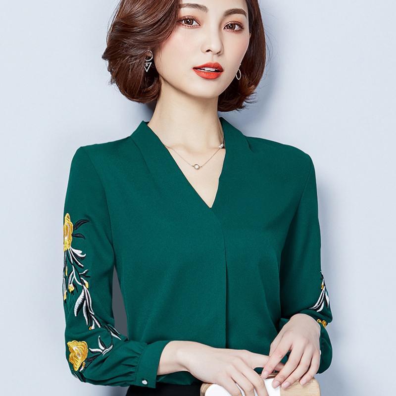 Nueva primavera verano de las mujeres del bordado de la gasa de la camisa de manga larga del todo-fósforo ropa de trabajo señora de la oficina tapas de la blusa blusas de las mujeres