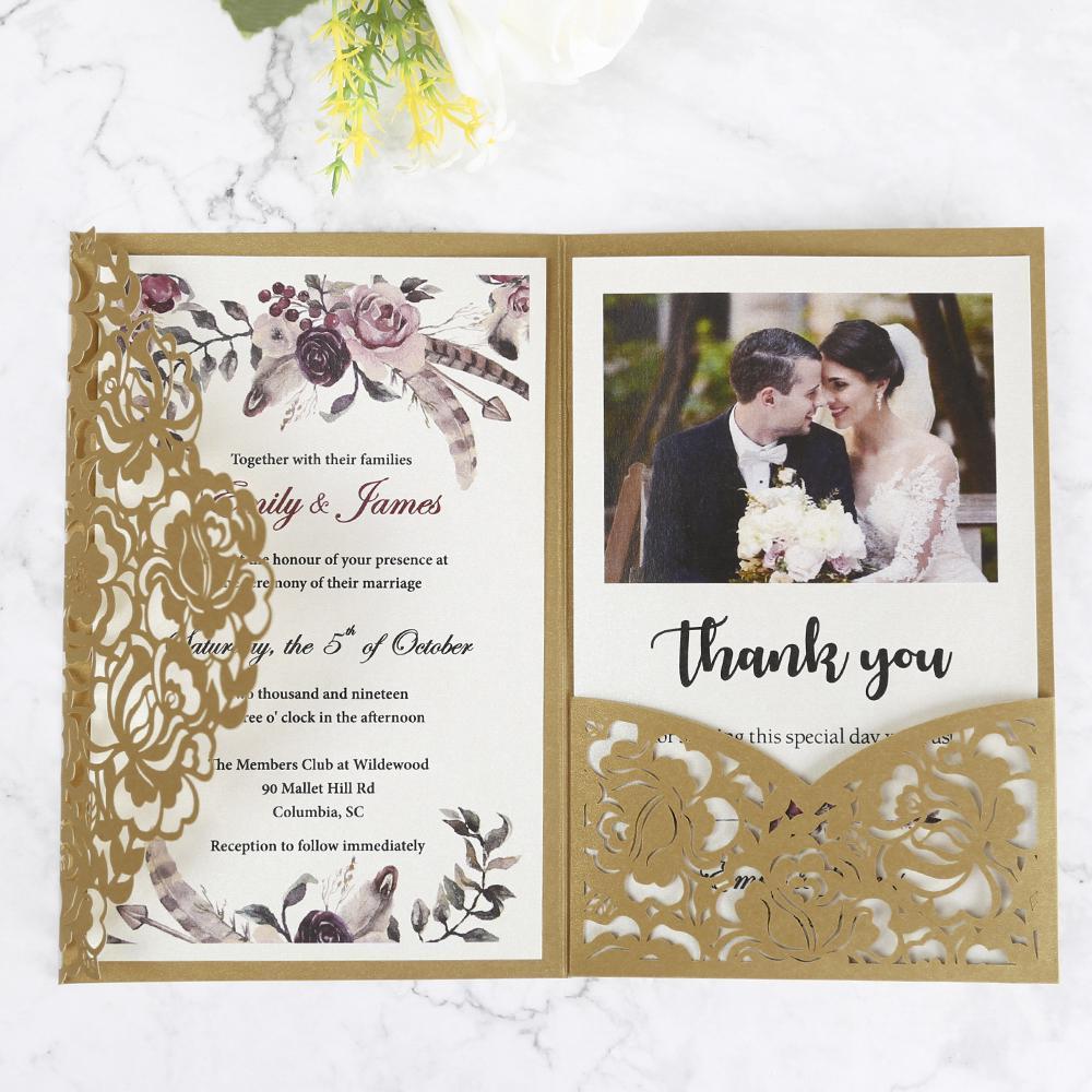100pcs oro bianco bordeaux rosa rosso taglio floreale biglietti d'auguri tascabili floreali con busta su misura inviti per matrimoni