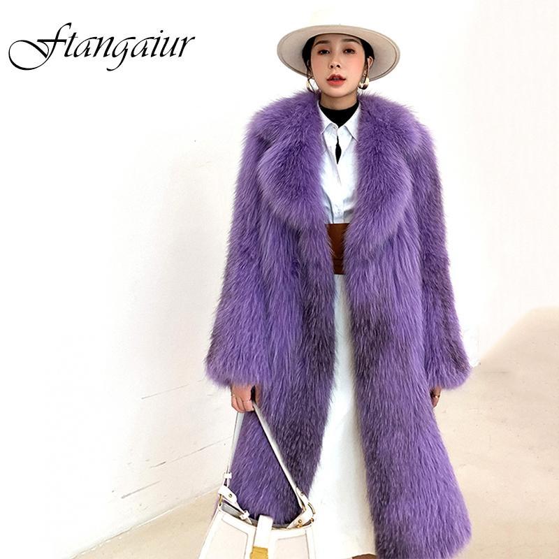 Ftangaiur 2019 Abrigo de invierno de importación de pieles de la piel entera Pure Purple femenina delgada armadura de Coats X-Long abrigos de piel natural