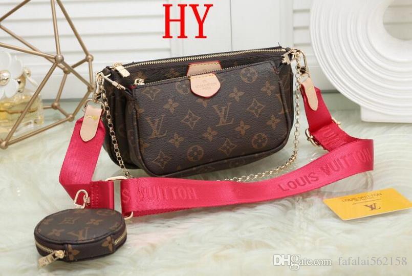 523 novos multi-pochette acessórios designers de senhoras bolsa de luxo bolsa de couro genuíno L flor ombro crossbody saco bolsas 3 pcs bolsa