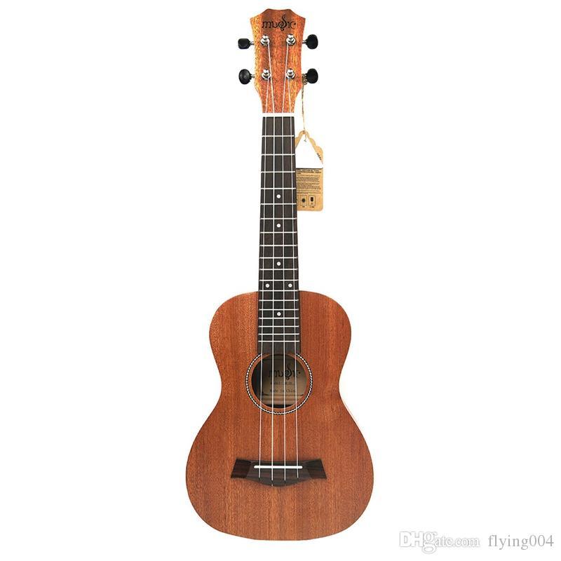 De alta calidad de 21 pulgadas Ukulele Caoba Patrón Soprano Ukulele Guitarra Principiante Dolphin Ukulele Caoba cuello delicado Clavija 4 cuerdas W