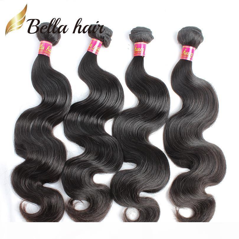 """8А перуанского Human Virgin Hair Связка Body Wave Волнистые Полные Пучки 100% Необработанный человеческие волосы Уток 8 """"-30"""" 4шт 8А Bellahair"""