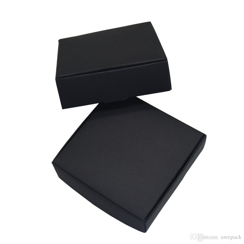 10.4x9.2x3cm Black Kraft Paper Package Paperboard Box Card Tags Photo Package Cardboard Boxes Jewelry Gift Storage Box Retail 50pcs/lot