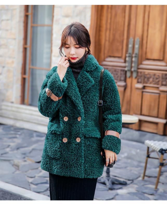 femmes manteau d'hiver 2020 nouveaux manteaux en laine réelle de fourrure parka chaude de mode 100% turn-down veste col double boutonnage grande poche