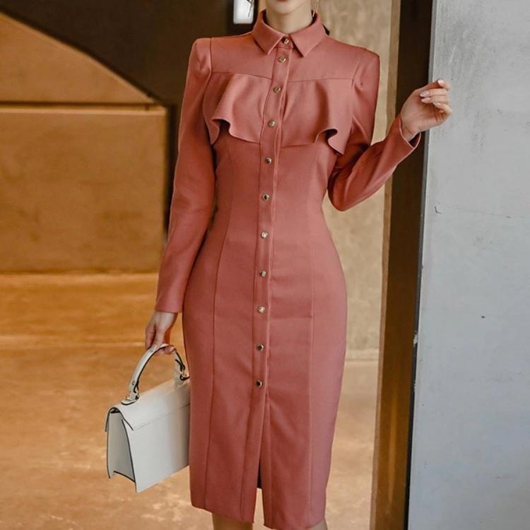 2020 spring new shirt collar in the long section waist was thin package hip dress (send belt)