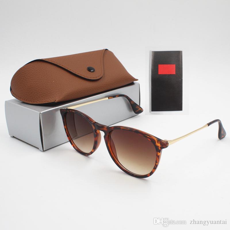 1pcs 패션 선글라스 안경 태양 안경 디자이너 망 여자 브라운 케이스 블랙 메탈 프레임 어두운 50mm 렌즈에 대 한