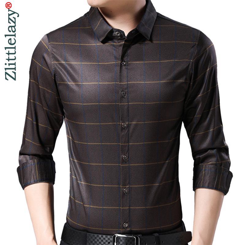 2019 marca listrada manga longa magro fit homens camisa streetwear vestido social vintage camisas mens fashions jersey 9317