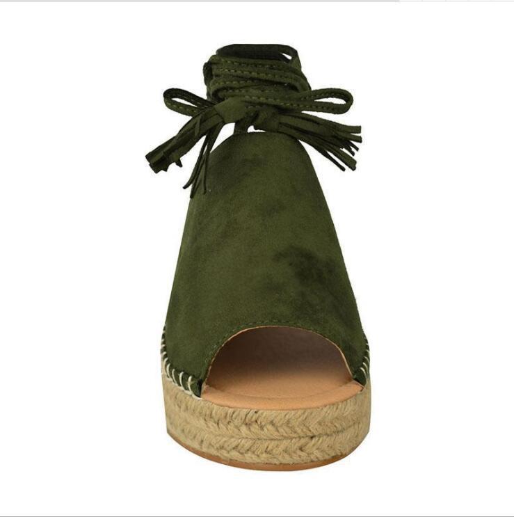 2019 Yeni Yaz İş Ayakkabıları Kadınlar Slingback Sandalet Kadın Straw Balık ağzını açın Burun Düz Casual Bilek Çapraz Kayış Roma Sandalet Lady