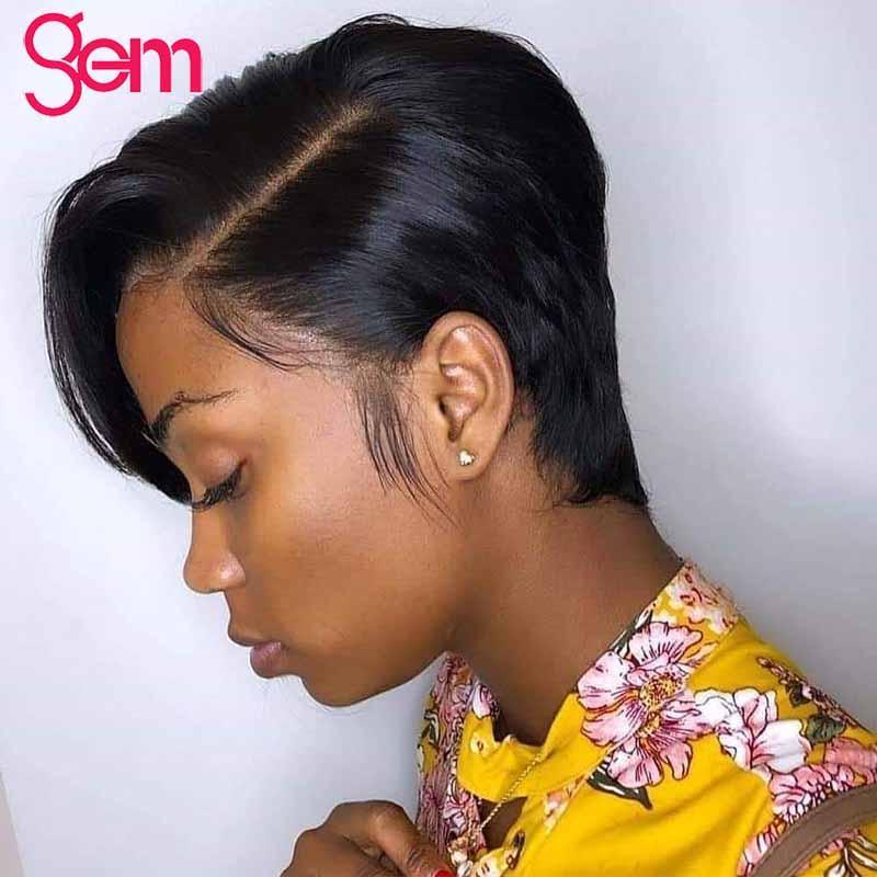 Pixie Cut Peruk 150 Yoğunluk Brezilyalı Kısa Bob İnsan Saç Peruk Siyah Kadınlar için Remy Saç Için 13x4 Dantel Ön İnsan Pixie Kesim Peruk