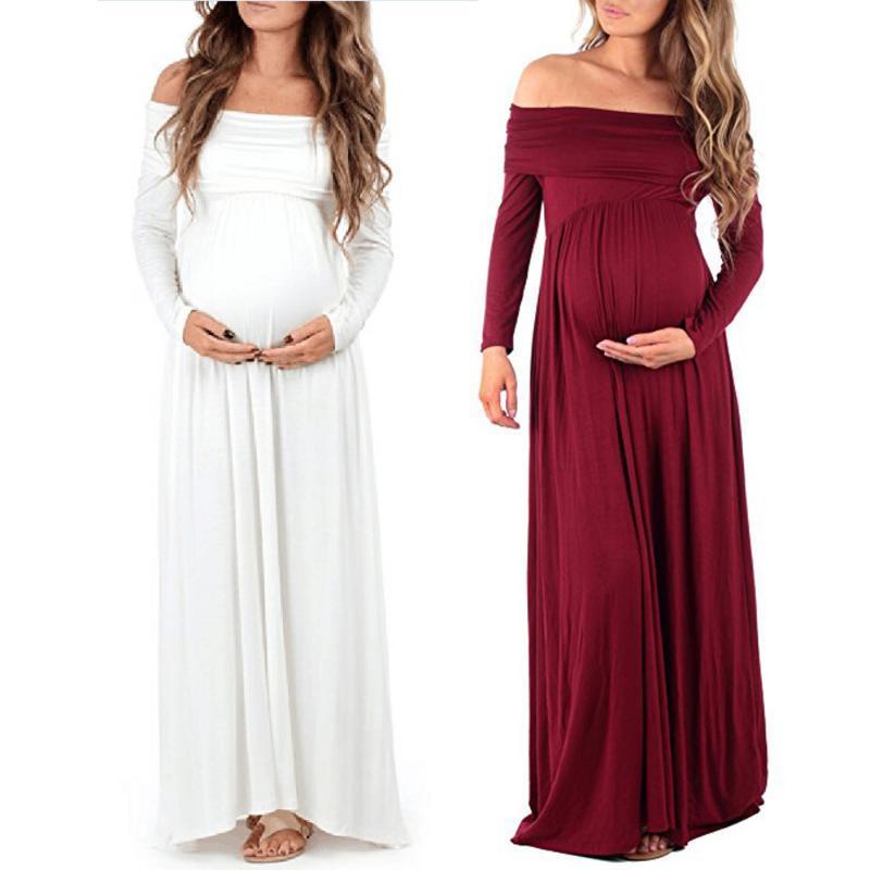 Hombros nuevo de las mujeres vestido de maternidad embarazada Off enfermería fotografía apoya vestido de mangas largas vestidos de las mujeres embarazadas